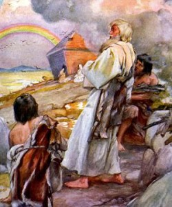 The Flood - caption reads, 'Noah and his family come out of the ark.' (and see the rainbow). Genesis chapter 9: 'And God said, This is the token of the covenant which I make between me and you and every living creature that is with you, for perpetual generations.' (From The Old Testament Story). c. 1920s. Illustrations by Arthur A. Dixon. AD: English artist: 1892 - 1927. (Photo by Culture Club/Getty Images)
