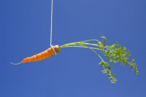 a carrot in the sky, like a bait
